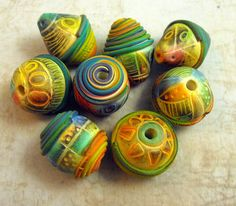 Colourful extruder and chalk pastel tribal beads