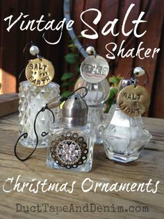 Vintage salt shaker Christmas ornaments & more DIY ideas for decorations, gifts, crafts, and jewelry on DuctTapeAndDenim.com