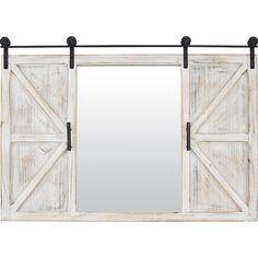 Mirror Door, Door Wall, Sliding Door Design, Barn Door Designs, Circular Mirror, Old Cottage, Decor Pillows, Rustic Barn, Barn Doors