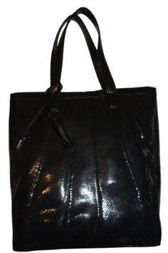 Women's Calvin Klein Leather Purse Handbag Snake Tote Black « Xquisite Beauty