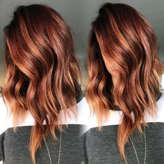 Oct 2019 - [tps_header]Balayage isn't a specific color or look, but rather the actual technique that stylists use to apply highlights. This technique looks like natural sun-kissed highlights throughout the hair. Balayage is the . Hair Color Auburn, Ombre Hair Color, Cool Hair Color, Brown Hair Colors, Fall Auburn Hair, Amazing Hair Color, Color For Short Hair, Short Auburn Hair, Medium Auburn Hair
