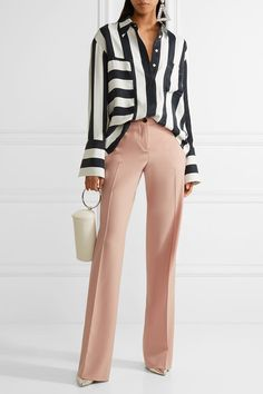 Blush grain de poudre stretch-wool Button and zip fastenings at front wool, elstane; pocket lining: viscose Dry clean Made in Italy Sophisticated Outfits, Classy Outfits, Chic Outfits, Fall Outfits, Fashion Outfits, Pink Wide Leg Trousers, Color Type, Trouser Outfits, Business Casual Outfits
