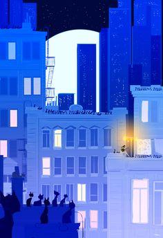 Dibujemos los tejados en azul.