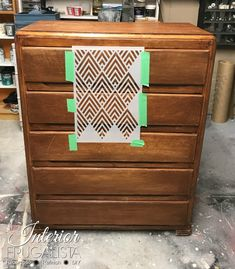 Whitewashed Geometric Dresser Makeover With just a bit of elbow grease and very little paint, this well used dresser was redeemed with a whitewash finish and stenciled geometric dresser makeover. Grey Bedroom Furniture, Bohemian Furniture, Upcycled Furniture, Painted Furniture, Diy Furniture, Furniture Stencil, Furniture Assembly, Furniture Design, Stencil Dresser