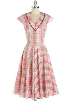 Swing Showcase Dress. The town hall enlivens with the strawberry, limeade, and white hues of this plaid A-line - especially when you start movin! #red #modcloth