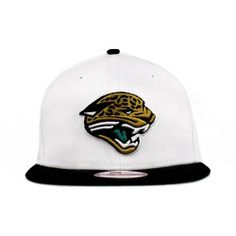 NFL Jacksonville Jaguars White Top Snapback Cap, White/Black, One Size Fits All by New Era. $17.87. The NFL White Top Snap Is A Two-Tone New Era® 9Fifty™ Snapback Cap Featuring A Solid White Cap With A Contrasting Team Color Visor.  The Cap Has An Embroidered (Raised) Team Logo On The Front, A Embroidered (Raised) Team Name On The Back Above The Snap Closure, And A Stitched New Era® Flag At Wearer's Left Side.