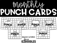 Monthly punch cards can serve as part of your behavior and classroom management system. Each punch card needs 20 punches to be filled up. This pack includes punch cards for August thru June and 2 picture options for each month. Copy on colored paper