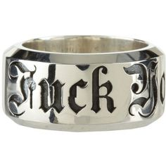 King Baby Studio New F*** You Ring (Sterling Silver) Ring ($280) ❤ liked on Polyvore featuring men's fashion, men's jewelry, men's rings, rings, jewelry, sterling silver, mens sterling silver rings and mens gothic rings #SterlingSilverRings #SterlingSilverWedding