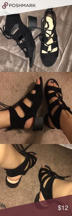 Black suede lace up Sandel Heels! Black lace up sandal. Size 6 . 1inch 1/2 heel height. Only wore once. Comfortable. Big Buddha Shoes Sandals
