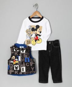Take a look at this White Mickey Mouse Zip-Up Vest Set - Infant by Blow-Out on #zulily today!  #fall