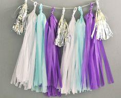 DIY Tassel Garland Kit - White, Blue, Dark Purple Tassels with Mini Metallic Silver Tassels
