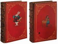 ALICE'S ADVENTURES IN WONDERLAND & THROUGH THE LOOKING GLASS  by Carroll, Lewis - First edition.  London: Macmillan and Co, 1869, 1872.  A beautiful set, bound in the early 20th century by Baytnun in full red crushed levant morocco with raised bands on the spine and intricate gilt detailing. Inlaid leather figures of a rabbit trumpeter on the first book and Alice with a deer on the second. Listed by Whitmore Rare Books.