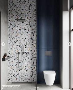 Rustic Bathrooms, Dream Bathrooms, Modern Bathroom, Guest Bathrooms, Dark Blue Bathrooms, Interior Design Magazine, Bathroom Interior Design, Modern Interior Design, Terrazzo