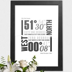 Die personalisierte koordiniert-Print ist eine wunderschöne und einzigartige Möglichkeit der Erinnerung an besondere und beliebte Orte. Diese typografische Poster ist eine fantastische Möglichkeit, erinnern wo Sie verliebte, ging in den Urlaub oder wo Startseite!  Maßgeschneidert und speziell für Sie erstellt also niemand Drucken ist das gleiche. Gedruckt auf hochwertigem 300gsm texturierte weißen Karton. A3 in der Größe (11,7 cm x 16,5 cm)  Die Koordinaten werden in einem Grad, Minuten und…
