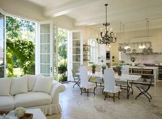 french doors in kitchen bring the outdoors in ~ gorgeous!
