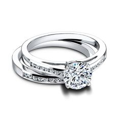 Nadine engagement and wedding rings by Jeff Cooper Designs