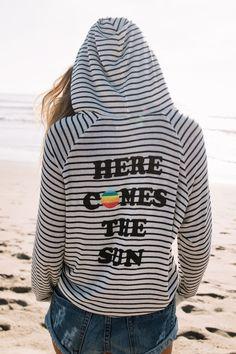 Here Comes The Sun Beach Hoodie Navy | Spiritual Gangster Yoga Clothing