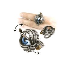 Alchemy of England – Automaton's Eye Ring In Antique Silver/Antique Gold/Antique Copper