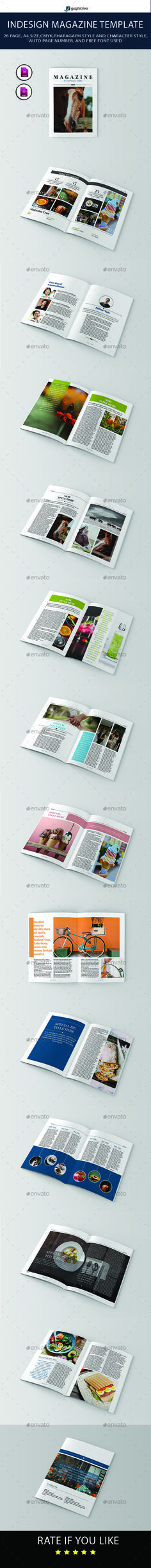 Magazine Template — InDesign INDD #editorial #design • Available here → https://graphicriver.net/item/magazine-template/19988499?ref=pxcr