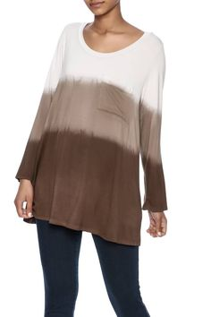 23cce81dc1d7a Oversized long sleeve piko tee with pocket in ombre print. Dip Dyed Pocket  Piko by. Shoptiques