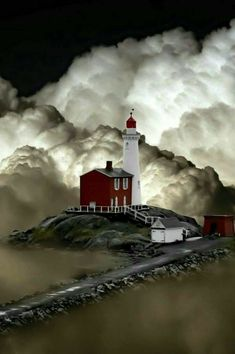 What a gorgeous photo of the clouds and the lighthouse! I do not believe this is a photo but rather a fun piece of art/photoshopping Photo Post Mortem, Pretty Pictures, Cool Photos, Beautiful World, Beautiful Places, Lighthouse Pictures, Beacon Of Light, Amazing Nature, Belle Photo