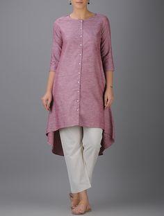 Buy Pink Button-down Asymmetrical Hem Cotton Kurta Online at Jaypore.com