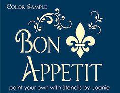 French Sign Stencils | Paris French Shabby Stencil BON Appetit Fleur Swirl ART Cottage Chic ...