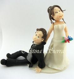 OOAK Handmade Cake topper Bride dragging by RUSTIKOcakeDecoratio, €50.00