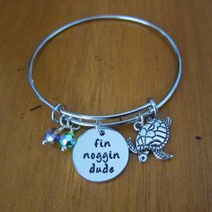 "Fin Noggin Dude Bangle Bracelet. Sea Turtle by WithLoveFromOC Me and sis's special ""hand shake"""