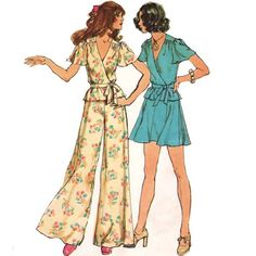Etsy mysweetiepiepie Size 14 Bust 36 Medium Large VINTAGE 1970 s SEWING PATTERN Puff Butterfly Sleeve Wrap Blouse with Tie Belt Short Flare Skirt Wide Leg Pants Simplicity 5671 - Stylehive
