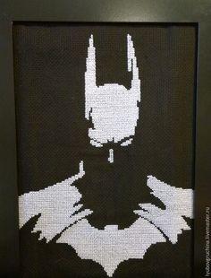 Купить или заказать Вышивка 'Бэтмен' в интернет-магазине на Ярмарке Мастеров. Эта вышивка может очень понравится поклонникам героя комиксов 'Бэтмен'! Картина выполнена белыми нитками мулине на …
