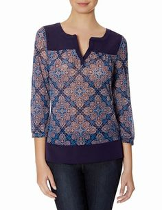 Printed Mixed Media Top. Win The Limited discount Gift Cards on www.cityhits.com and use them towards printed tops like this one. #fashion #trend #fall2013