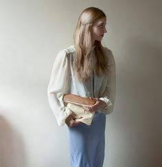 BUTTER TOFFEE Leather Clutch. PASTEL Leather Clutch. Light Yellow Leather Bag. Caramel Leather Clutch. $80.00, via Etsy.