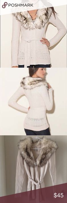 Guess Faux Fur Trimmed Cream Sweater In excellent condition! Removable fur. Belt tie. Guess Sweaters Cardigans