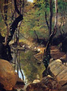 """""""Les bords du Cousin"""", Camille Corot"""