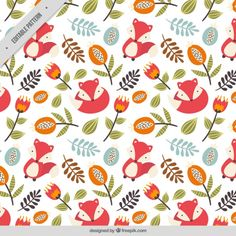 Autumnal pattern with a nice fox Free Vector