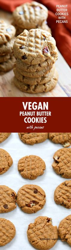 Vegan Peanut Butter Cookies with Pecans and Chocolate chips. Pecans add a buttery flavor to these soft nut Butter cookies. Peanut / Almond Butter Cookies.   VeganRicha.com #vegan #cookie #peanutbutter