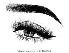 Hand-drawn woman's luxurious eye with perfectly shaped eyebrows and full lashes. Idea for business visit card, typography vector.Perfect salon look. Hand Makeup, Makeup Art, Fresh Makeup Look, Home Beauty Salon, Lashes Logo, Brow Artist, Natural Eyebrows, Illustration, Eye Art