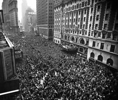 Two million people gathered in Times Square to celebrate the end of World War II. May 8, 1945.