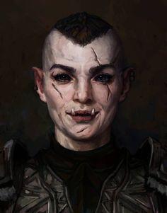 Umoaz by Unilt on DeviantArt Fantasy Races, Fantasy Warrior, Fantasy Rpg, Dark Fantasy Art, Medieval Fantasy, Fantasy World, Final Fantasy, Fantasy Portraits, Character Portraits