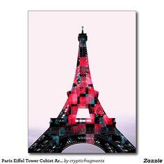 Paris Eiffel Tower Cubist Art Design Postcard