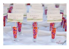 Escort Cards in Shot Glasses with Candy