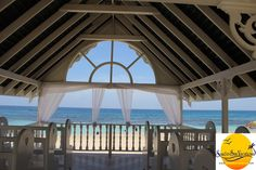 Beautiful open air beach front chapel! Isn't that view stunning?! Jewel Runaway Bay! Contact the destination wedding experts at www.sandnsunvacations.com for more information!