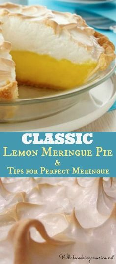 Classic Lemon Meringue Pie Recipe & Tips for Perfect Meringue : whatscookingamerica Desserts Nutella, 13 Desserts, Lemon Desserts, Lemon Recipes, Baking Recipes, Delicious Desserts, Dessert Recipes, Individual Desserts, Dessert Haloween