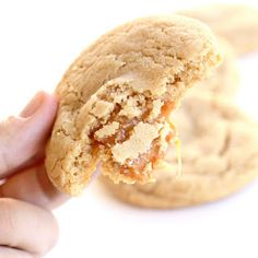 Carmel apple cider cookies--- best cookies ever! I cut the caramel pieces down a little and flatten them out before I stuff the cookie dough.
