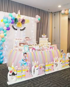 . Unicorn Themed Birthday Party . . We provide all your party needs such as : Sweet Corner Desserts ( Cakes Cupcakes Icing Cookies Pudding Cakepops Marshmallowpops Cookies in Jar etc ) Souvenir & Pinata Table & Chair Decoration Styrofoam Backdrop 2D and 3D Balloon Decoration & Ballon Art MC & Soundsystem Clown Magician Acrobatic Show Magic Balloon Face painting Glitter Tattoo etc . . Call us now WA : 08988999840 LINE : cookiesandream . . . . #desserttable #desserttablejakarta #dessertt Unicorn Themed Birthday Party, Spa Birthday Parties, Unicorn Party, Birthday Party Decorations, Unicornio Birthday, Ballon Backdrop, Balloon Face, Jojo Siwa Birthday, 1st Birthday Pictures