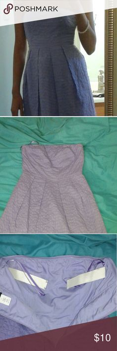 """CLEANING HOUSE!! J.Crew Embossed Pattern Dress Beautiful lavender color. Hidden pockets and built-in straps to keep dress from sliding down. 100% cotton.  Length: 30"""". Bought on PM awhile ago, but never got around to wearing it. Excellent condition, only worn once by original owner.  Please let me know if you have any questions on item. Open to offers J. Crew Dresses Midi"""