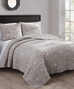 Another great find on #zulily! Stone & Taupe Giselle Three-Piece Quilt Set #zulilyfinds