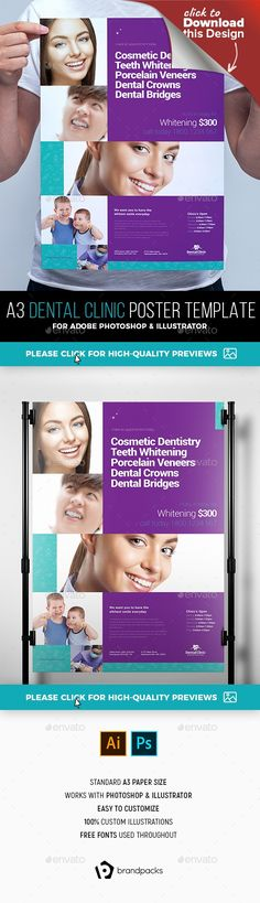 a3, ai, BrandPacks, clean, corporate, dental, dental clinic, dental practice, dentist, grid, illustrator, medical, photoshop, poster, poster template, psd, purple, vector    Dental Clinic Poster Template for Photoshop & Illustrator  An A3 poster template in Photoshop & Illustrator format ideal for local dentists & dental clinics. Also ideal for doctors and medical related businesses.   All layers & folders well-organised and clearly labelled for fast and efficient editing....