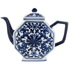 Blue & White Octagon Porcelain Teapot | Shop Hobby Lobby